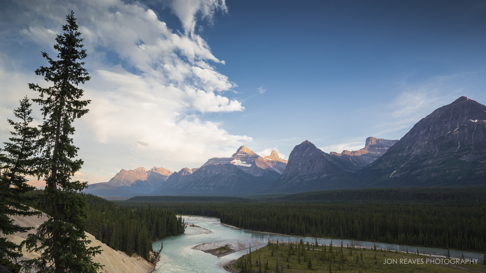 Athabasca River and Rocky Mountains, Jasper National Park