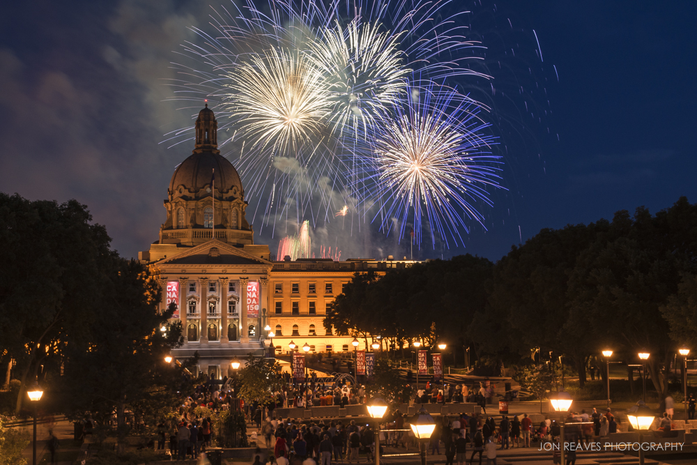 Canada Day Fireworks Celebration, Alberta Legislature, Edmonton, 2017