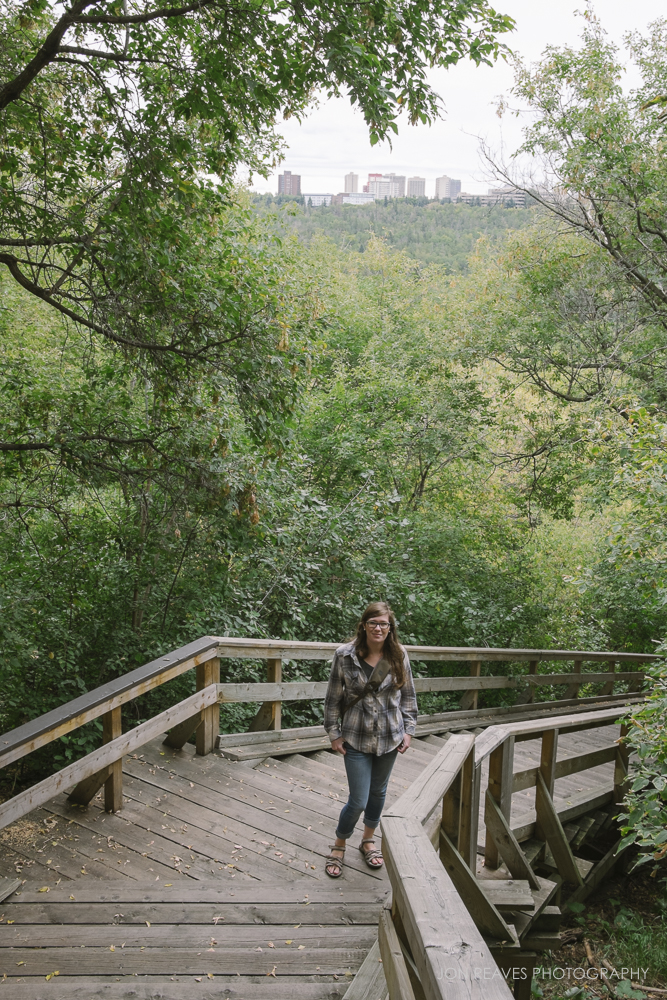 My wife on the Boardwalk to the River Valley Park System, Edmonton