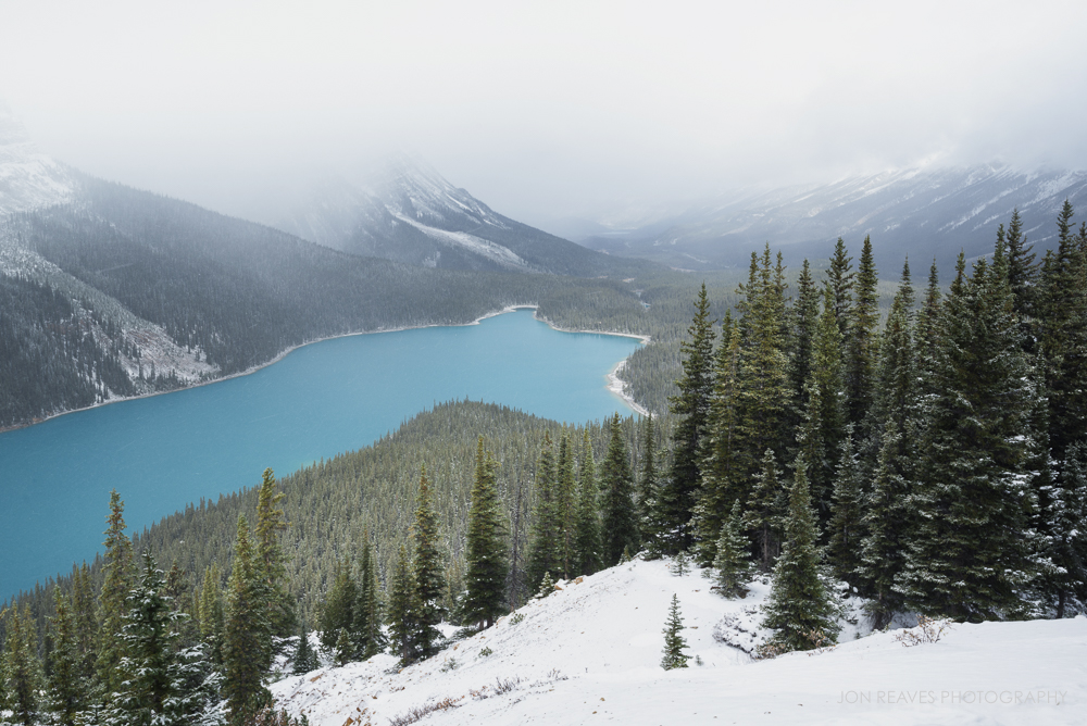 Peyto Lake in Autumn Blizzard, Banff National Park
