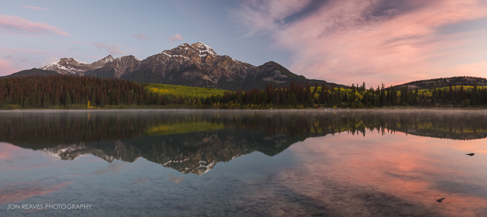 Pyramid Mountain sunrise at Patricia Lake, Jasper National Park