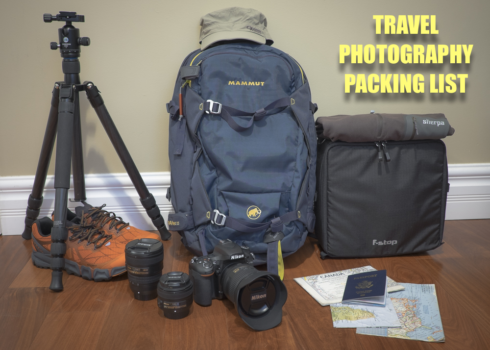 Pictured are a few of my travel photography essentials. The F-Stop Gear Medium Shallow ICU fits perfectly in my Mammut Nirvana Pro 35 backpack with just enough room left over for the necessary photo accessories and clothing for 1 - 2 weeks. The Cameron CF700 tripod with BH30 head is a new addition that I may review later. It straps securly to the outside of my backpack.