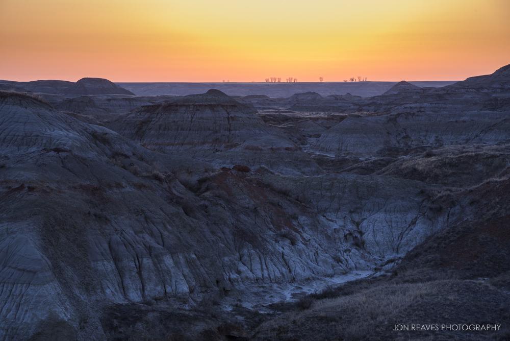 Sunrise over the Alberta Badlands