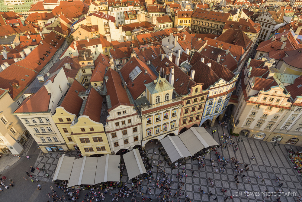 View of the crowds and restaurant lines in Old Town Square from the Old Town Hall Tower, Prague, Czech Republic
