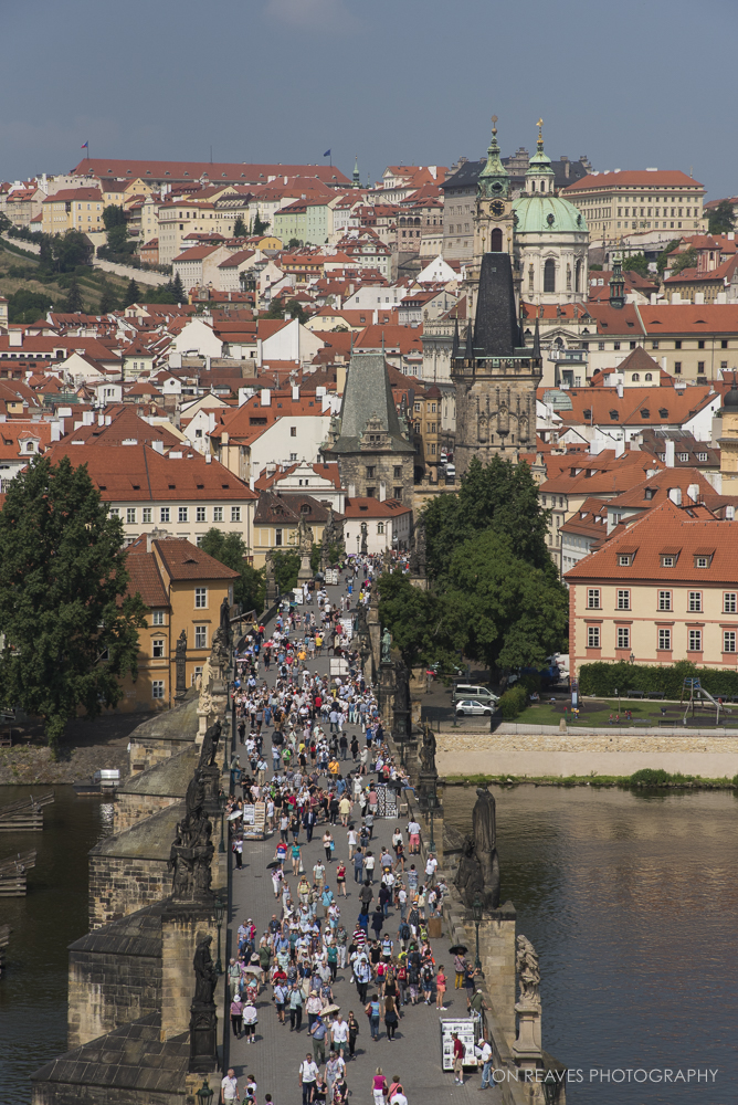 View of crowds on the Charles Bridge from the Old Town Bridge Tower, Prague, Czech Republic