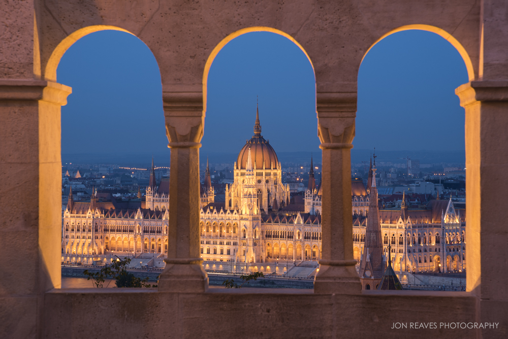 Hungarian Parliament at night from Fisherman's Bastion, Budapest, Hungary (Nikon D750, Nikkor 24-120 f4 VR, tripod, 120mm, f14, 3 sec, ISO 250).