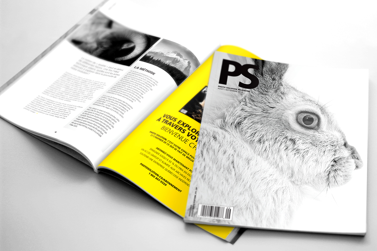 """Photo Solution  magazine (French) featuring my article """"Embrace the Grain""""and white-tailed jackrabbit image on the cover."""
