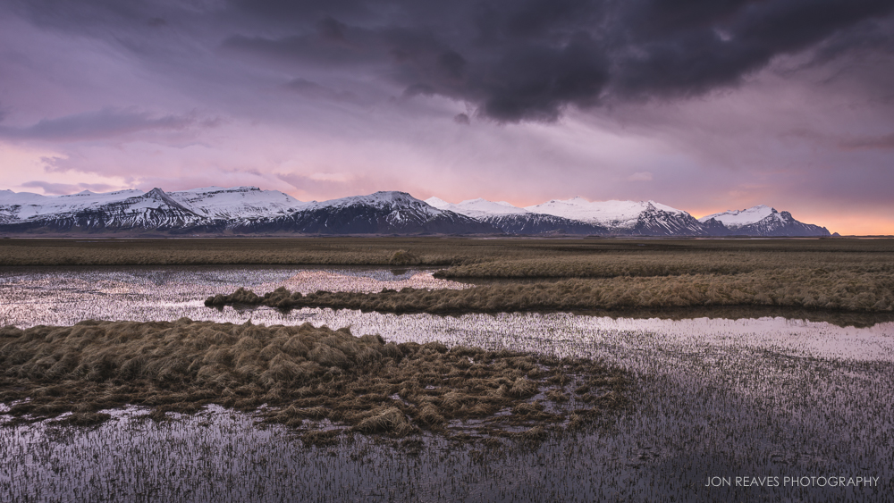 Sunrise and Storm Clouds over Mountains and Marsh, East Iceland (Nikon D600, Nikon 28-105mm AF-D, 28mm, f11, 1/4 sec, ISO 100, tripod)