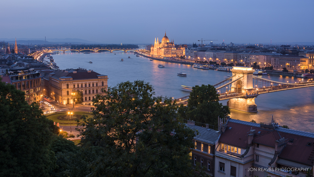 View of the Danube river, Chain Bridge, and Hungarian Parliament from Buda Castle.
