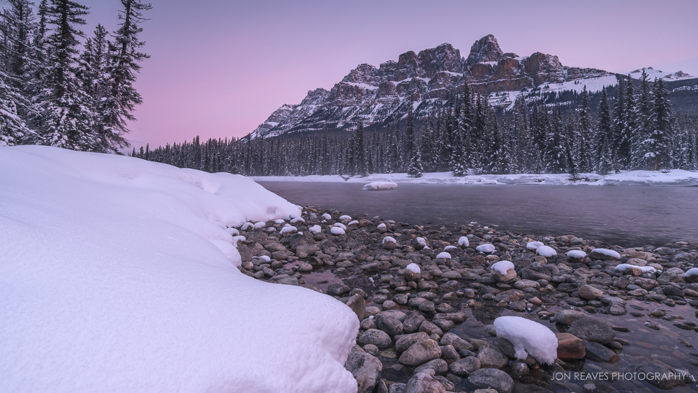 Castle Mountain Sunrise, Banff, Alberta, Winter 2018