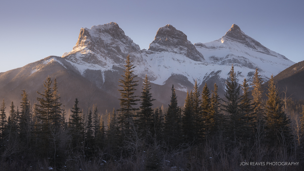 The Peaks of Three Sisters at Sunrise, Canmore, Alberta