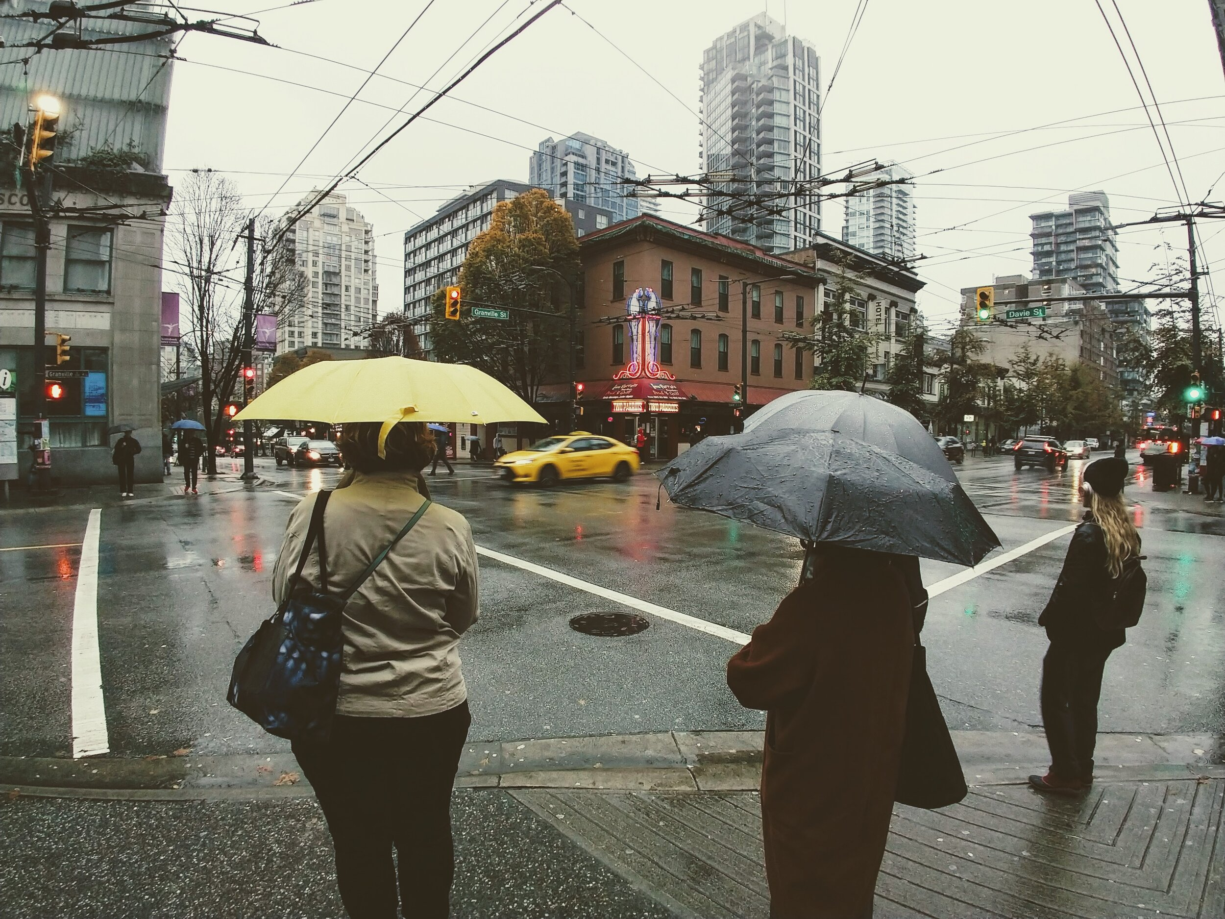 Rainy days in Downtown Vancouver, British Columbia