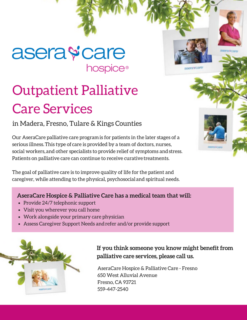For AseraCare Hospice - Fresno:  Mockups of their new palliative program to send to their corporate for mass printing