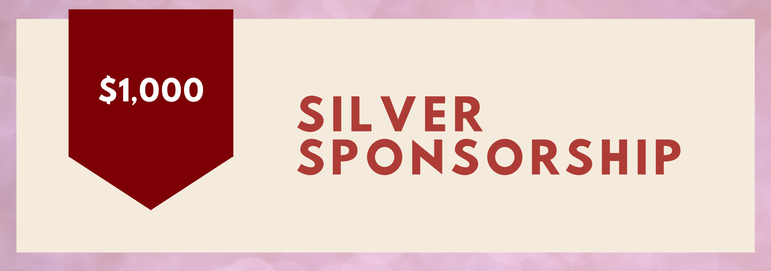 Silver Sponsorship - $1,000   • Logo in monthly email newsletter • Recognition post on social media • Logo on ticket sale site • Logo on promotional posters • Logo on event invitations  • Half page ad in gala program • (2) Passes to VIP Private Reception • Table of Ten to the Awards Gala
