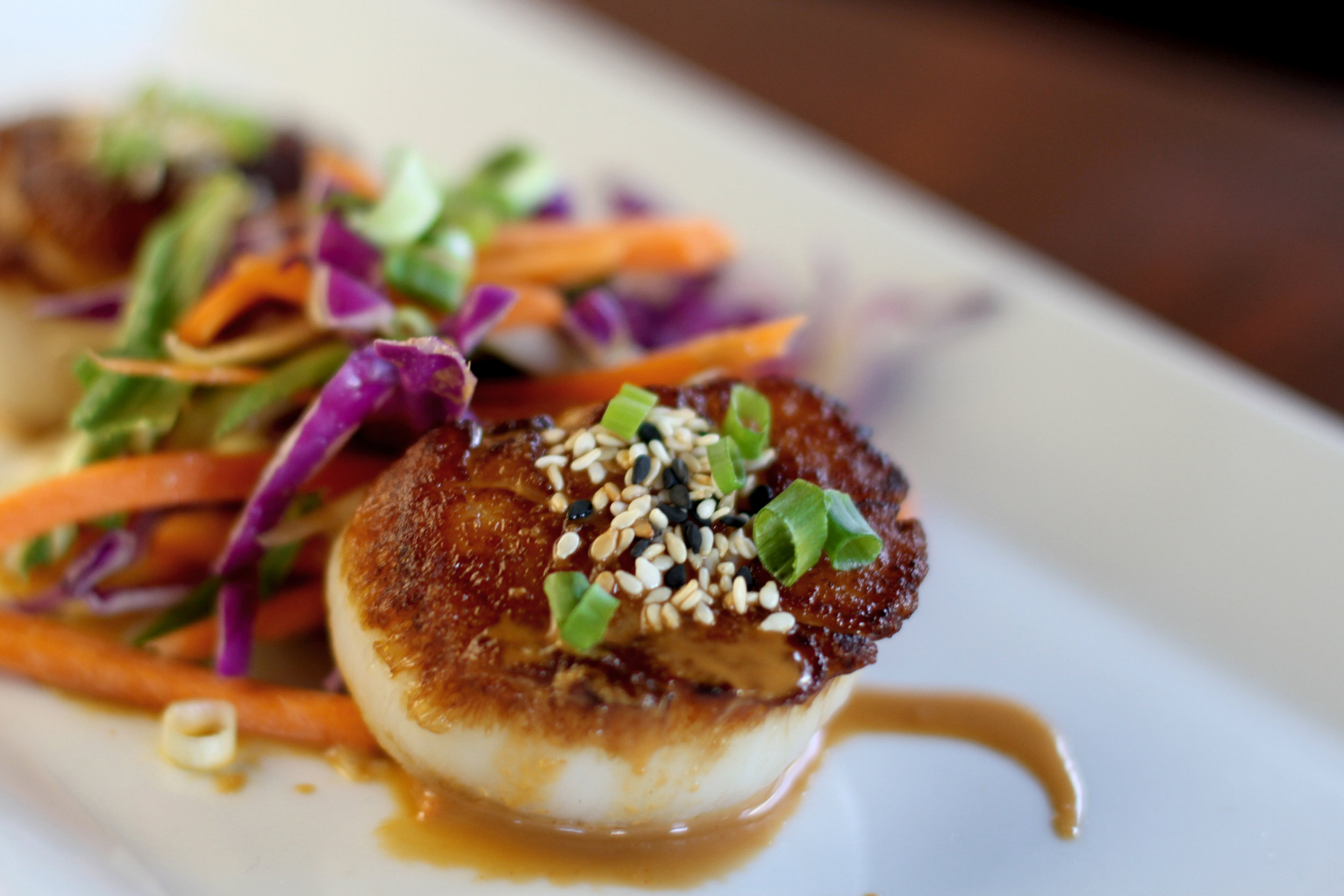 Seared U-10 Diver Scallop appetizer at Little Pearl
