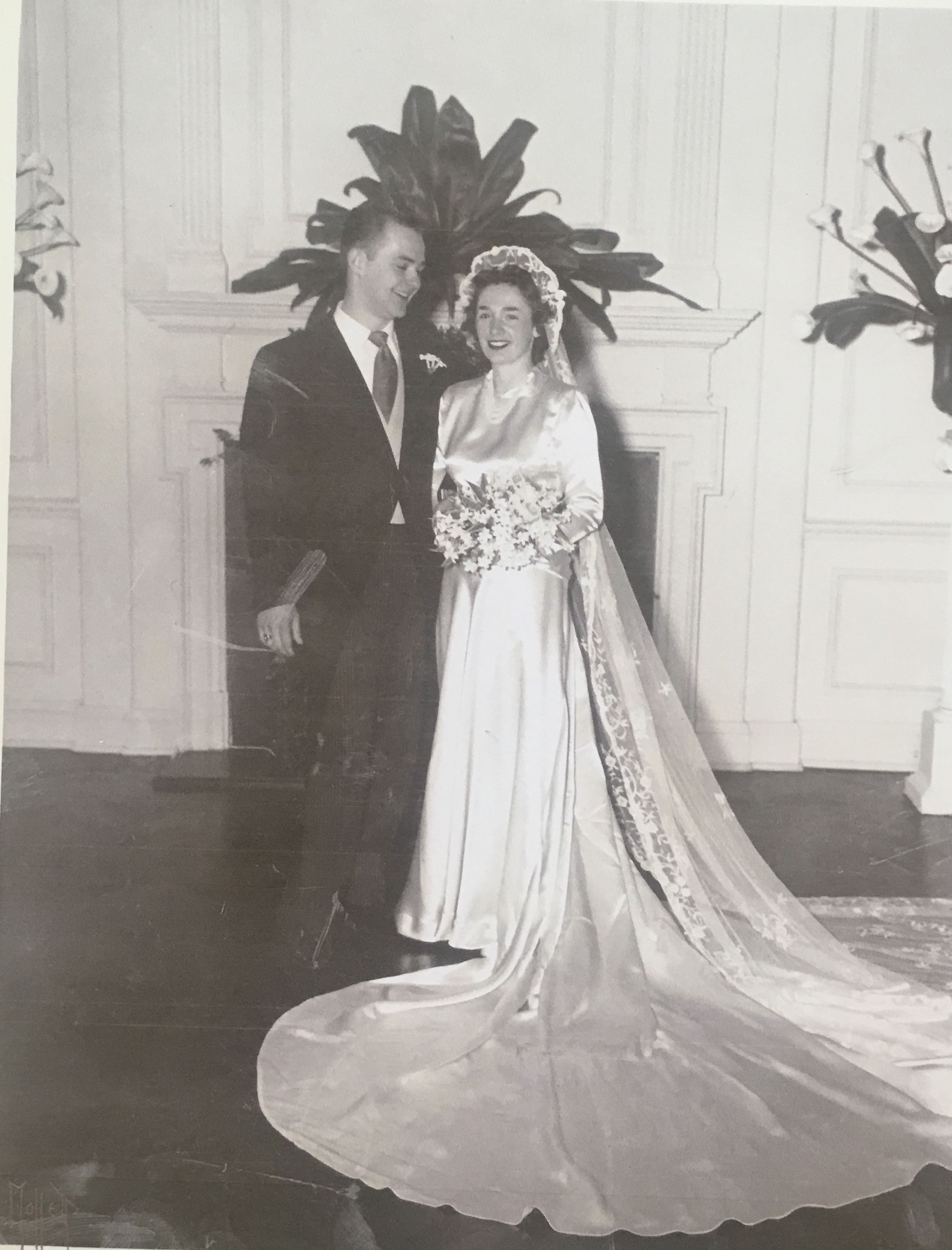 Caroline Browning and her husband, Web, on their wedding day