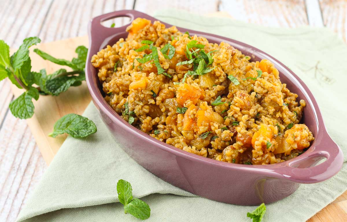 Moroccan Freekeh Pilaf with Golden Raisins and Apricots.jpg