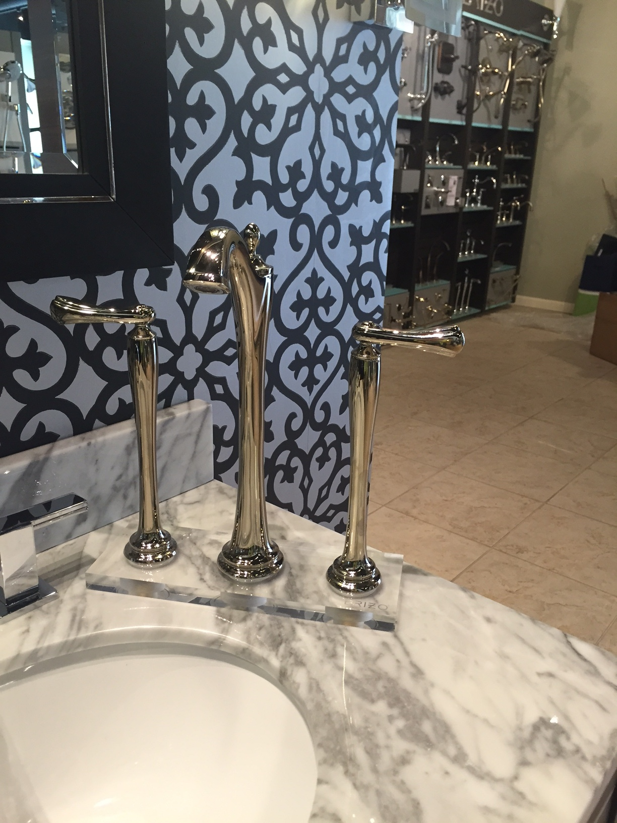 This was the faucet at the showroom. I took the display model and put it atop a sink to see how it might look.