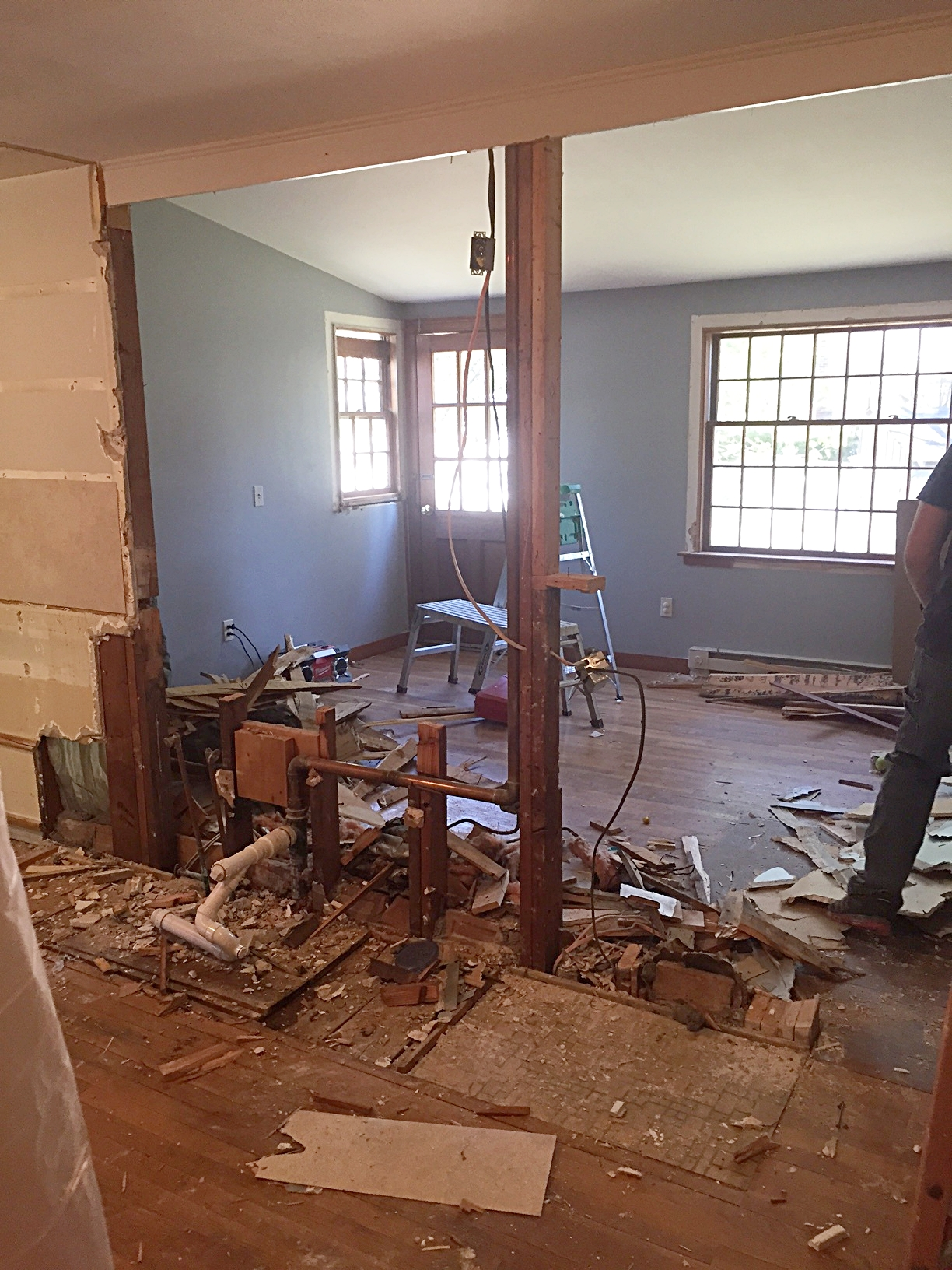 This is looking at what was the kitchen sink and countertop