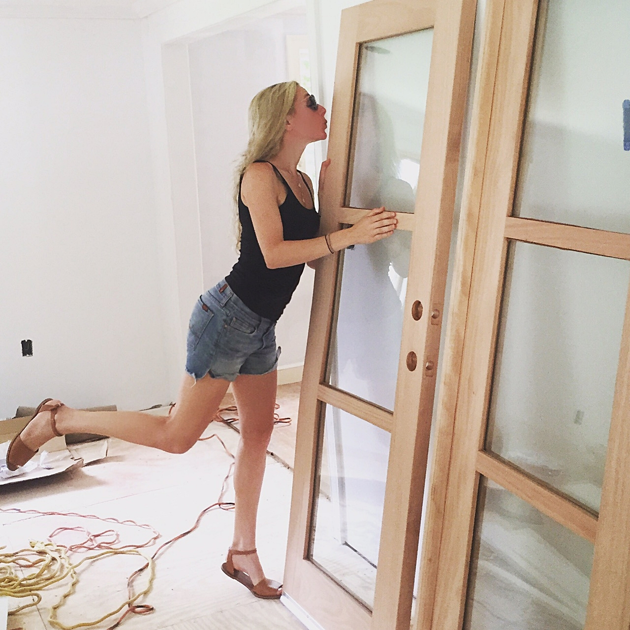 French doors arrived from California and I couldn't have been happier!