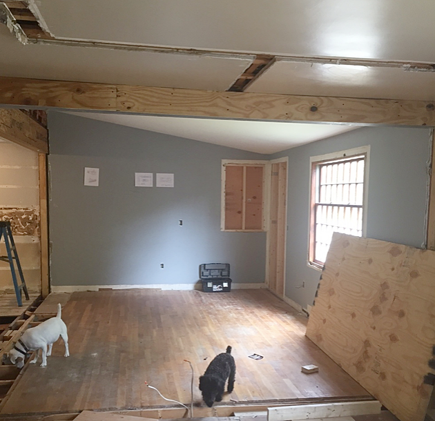 Wall was taken down and opened into what is now the new family room (from where pic was taken) and facing the kitchen
