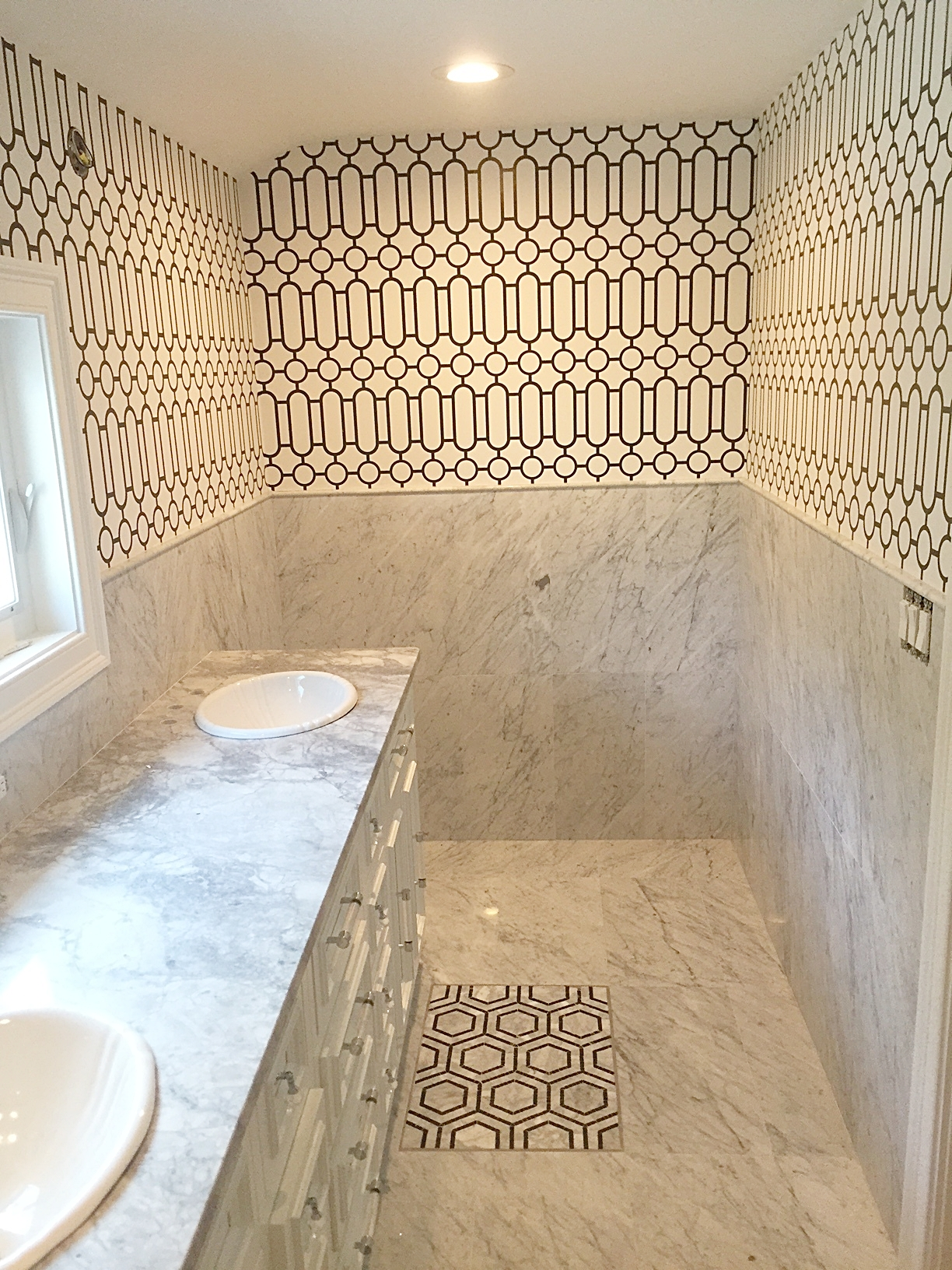 Master bath: Wallpaper done, sinks in!