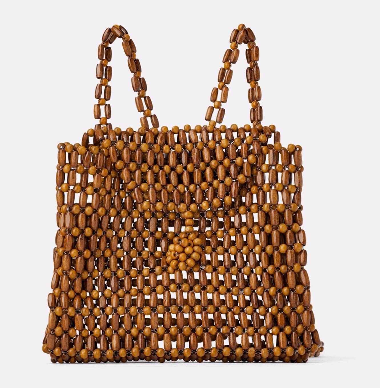 Zara wood beaded backpack