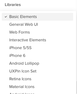 Library of interface elements