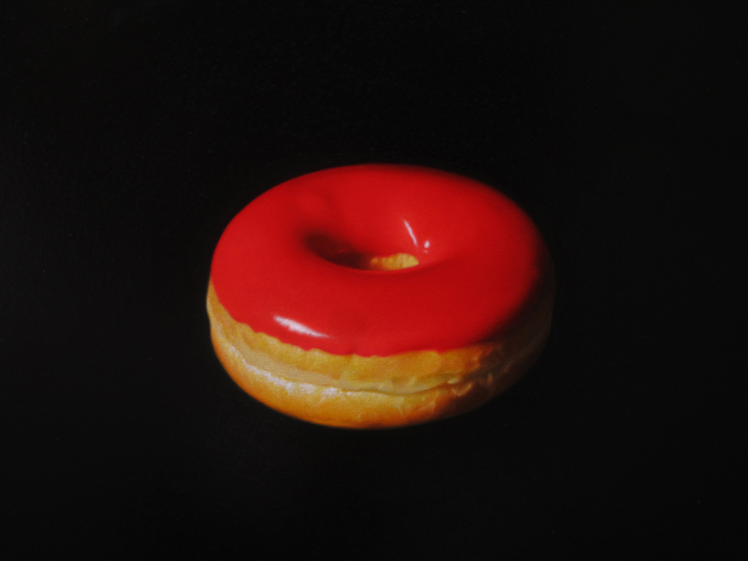 Red Donut. Oil on panel.