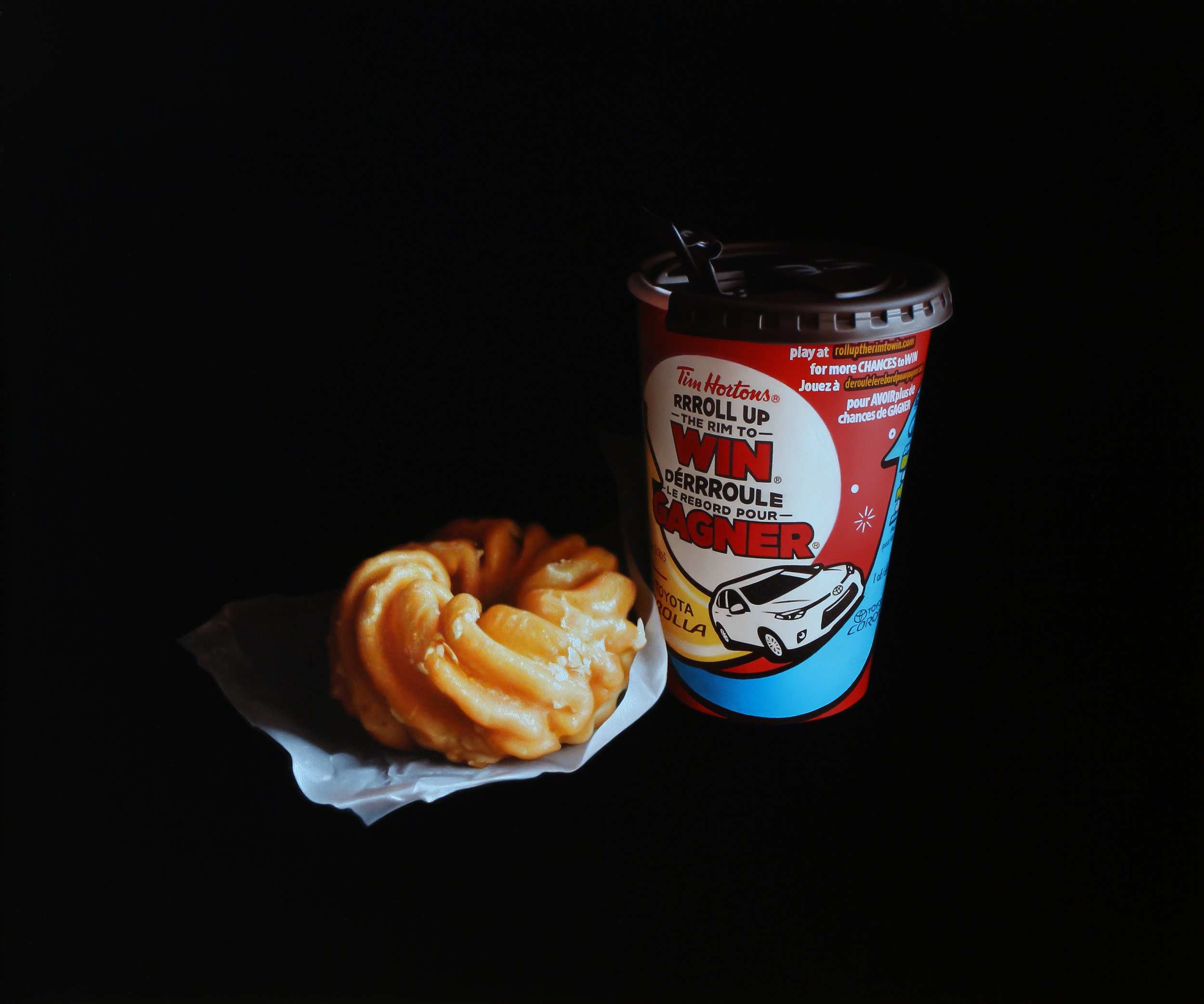 Donut and Coffee. Oil on panel.