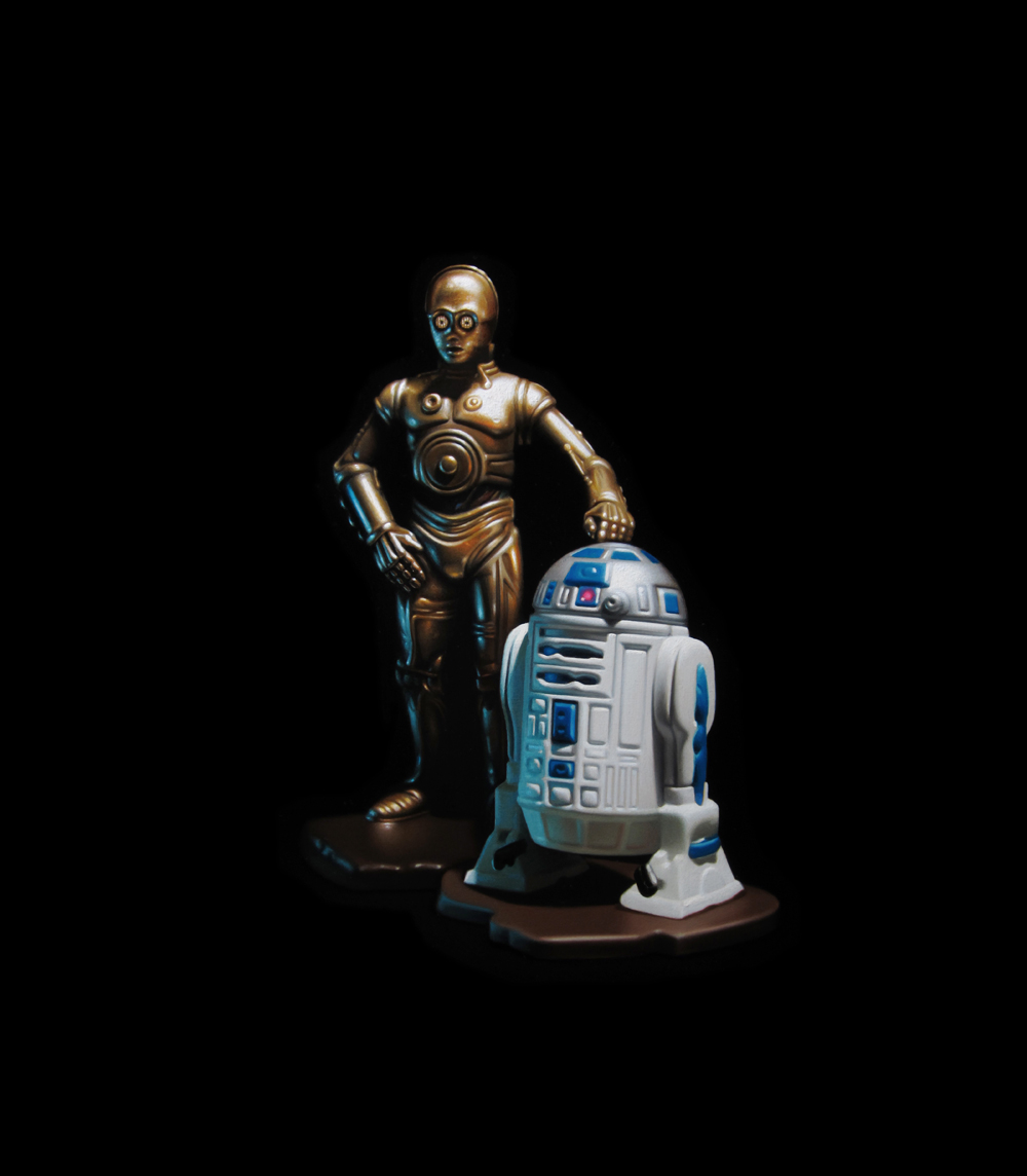 R2D2 and C3PO. Oil on panel.