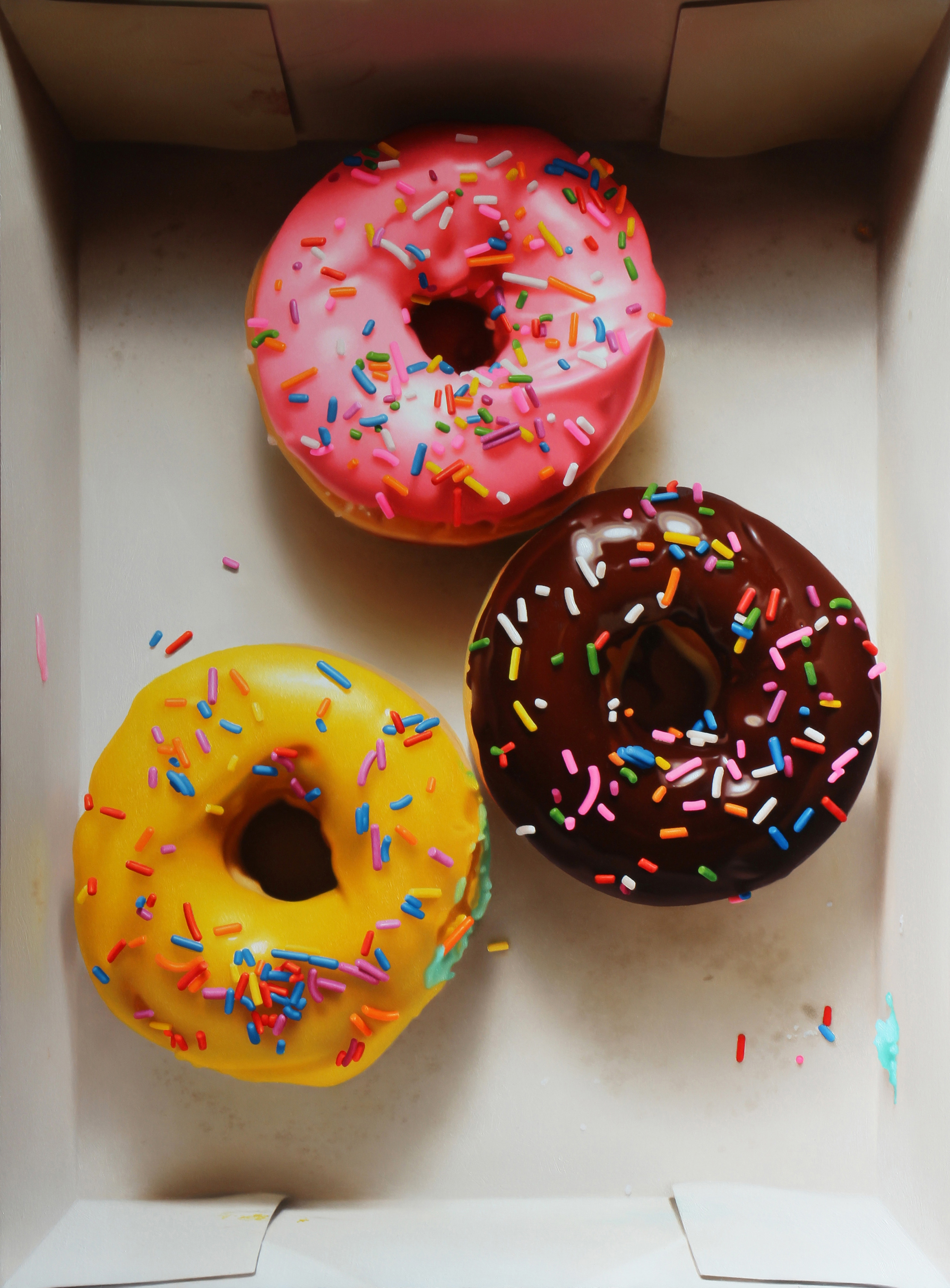 3 Donut Box. Oil on panel.