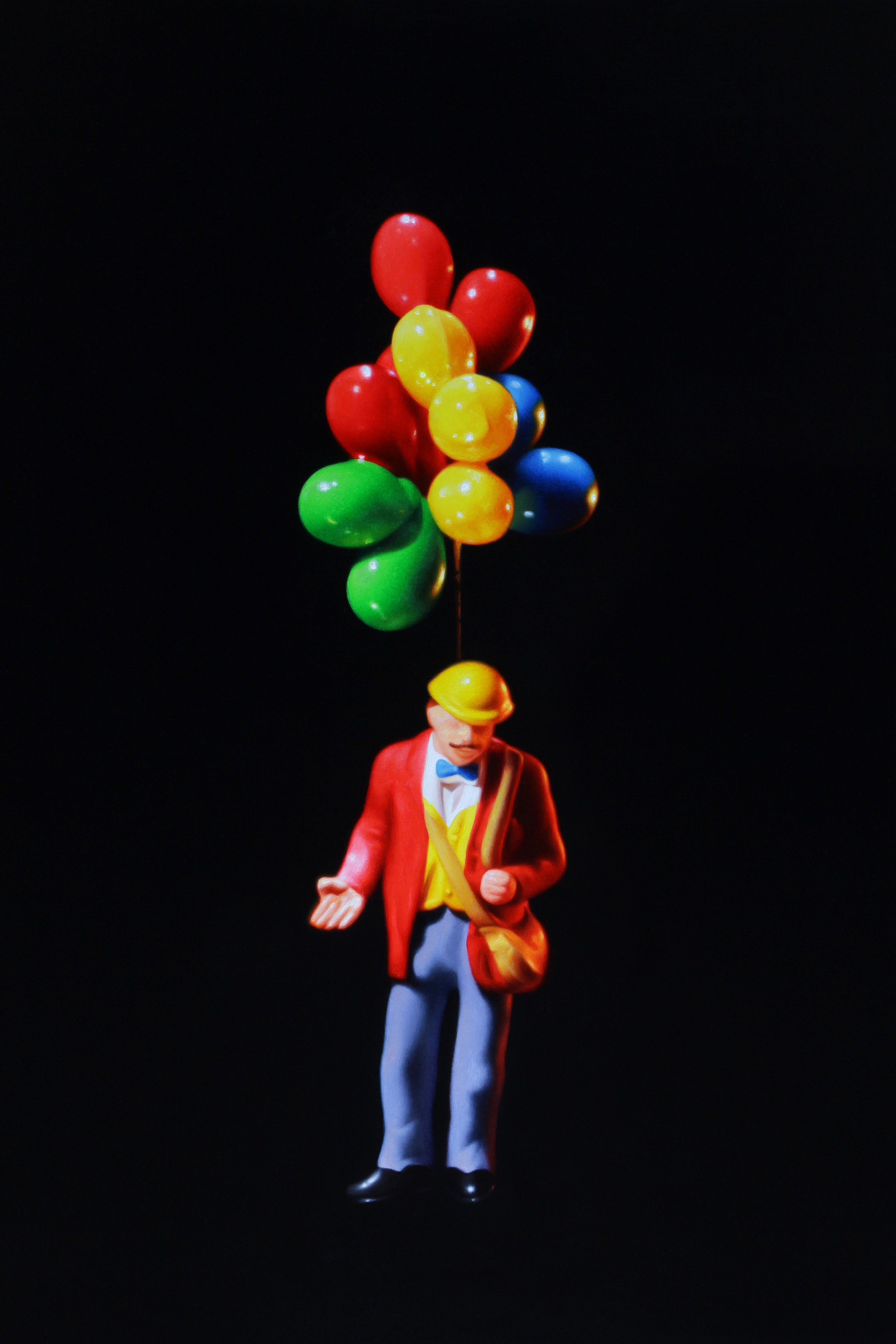 Balloon Man. Oil on panel.