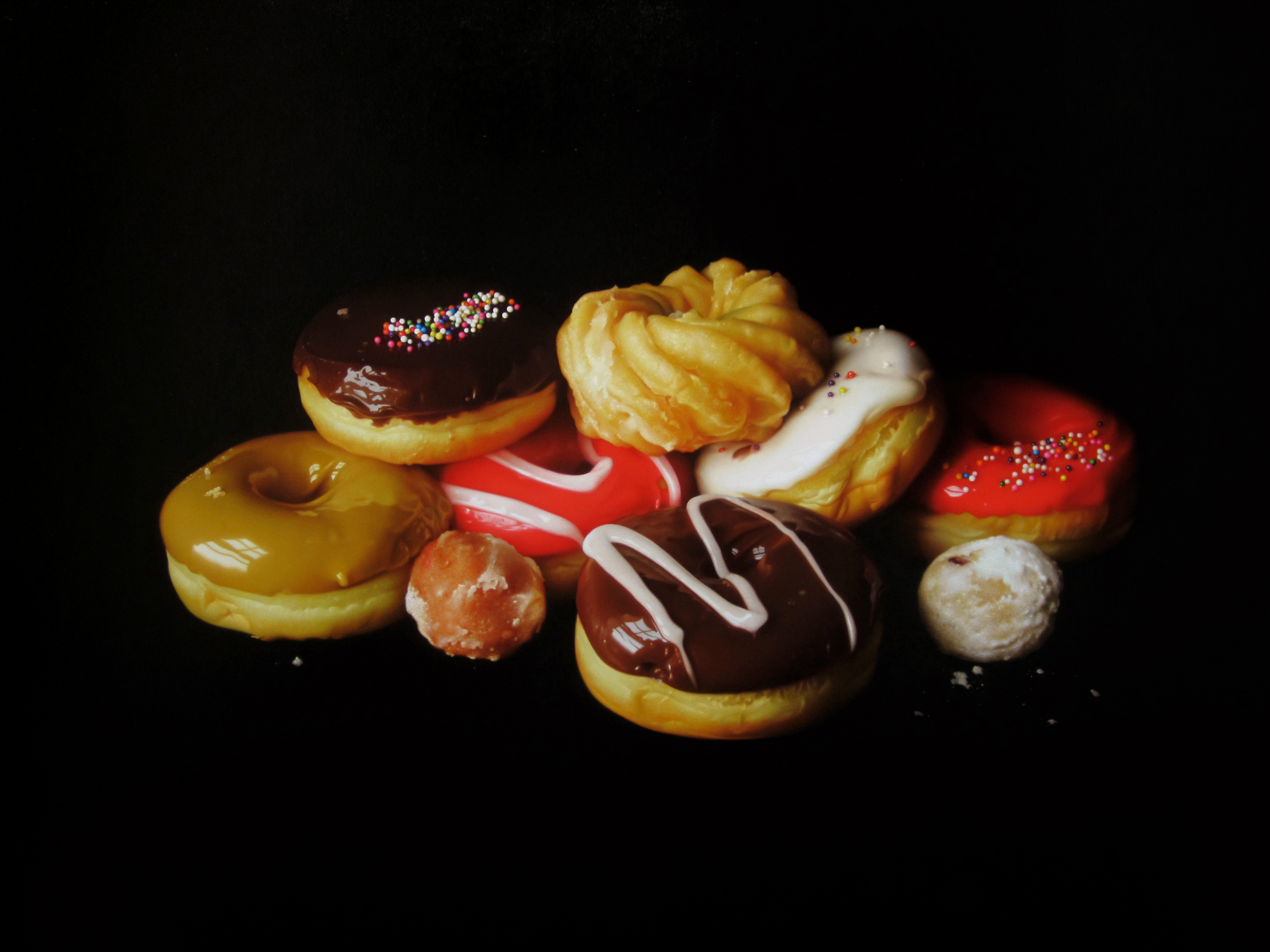 Donut Pile. Oil on panel.
