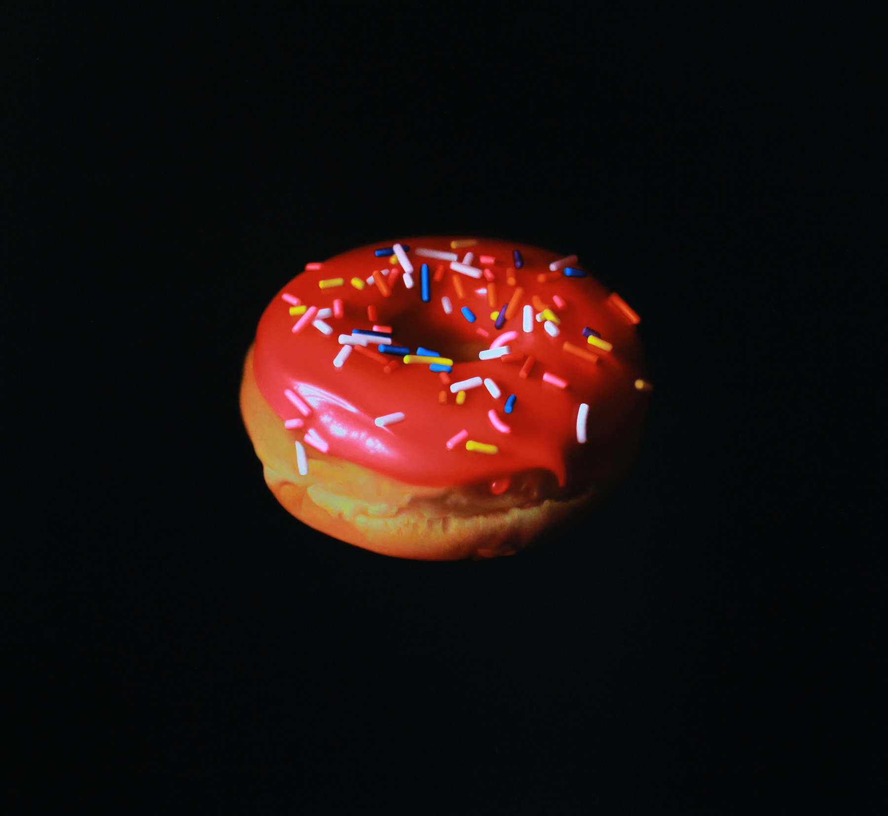 Pink Donut with Sprinkles. Oil on panel. 2017