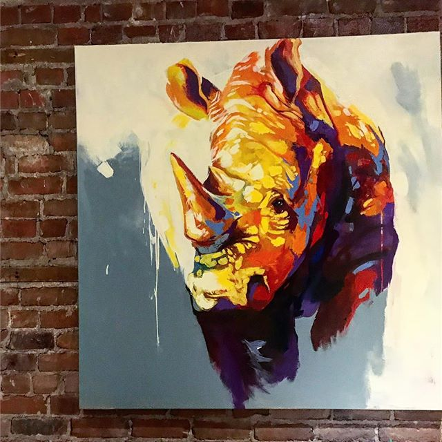 "Rhino painting  AMBASSADOR RHINO  Available soon 48""x48"" acrylic on canvas @dave_lavoiee / contact: daveart.ca@gmail.con www.daveart.ca . . #artistsoninstagram #artist #art #arts #animalpainting #montrealartist #montrealart #artcollector #art #painting #artfair #modernart #modernartist #contenporaryart #painting #paint #acrylic #acrylicpainting #fineart #artofthedayartgalery #artagram #artwork #arte #amazingart #artsy #painter #art🎨 #davelavoie#artbeautifulx"