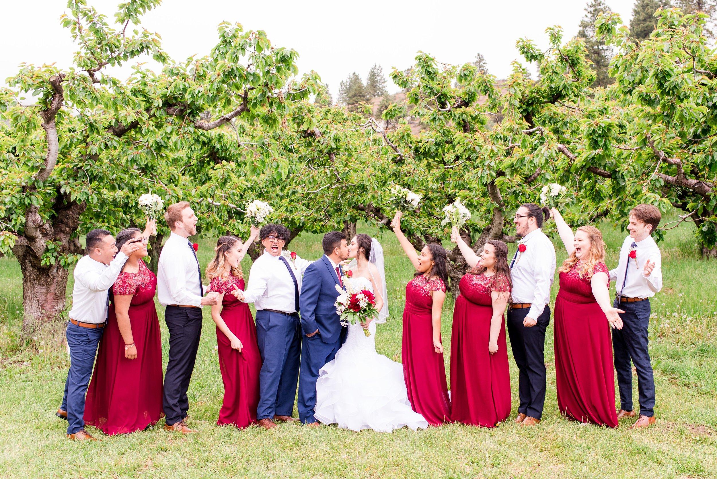 Bridal Party Orchard Photos - Wenatchee, WA Hampton Hideaway White Barn Wedding - Wenatchee, Washington Wedding Photographer - Morgan Tayler Photo & Design - Tri Cities, WA Wedding Photographer