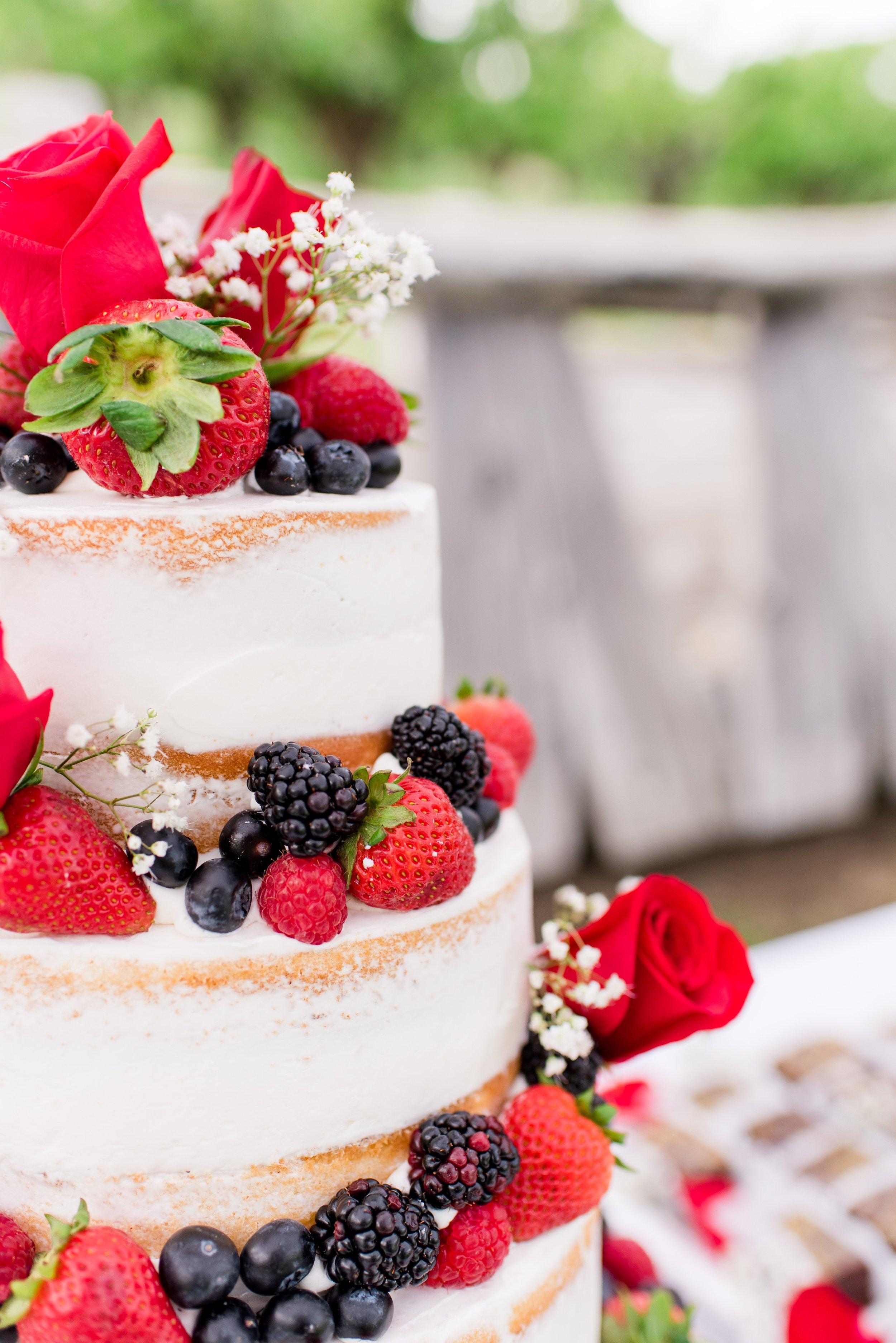 Naked Cake with Berries - Wenatchee, Washington White Barn Wedding - Hampton Hideaway - Morgan Tayler Photo & Design - Wenatchee Wedding Photographer