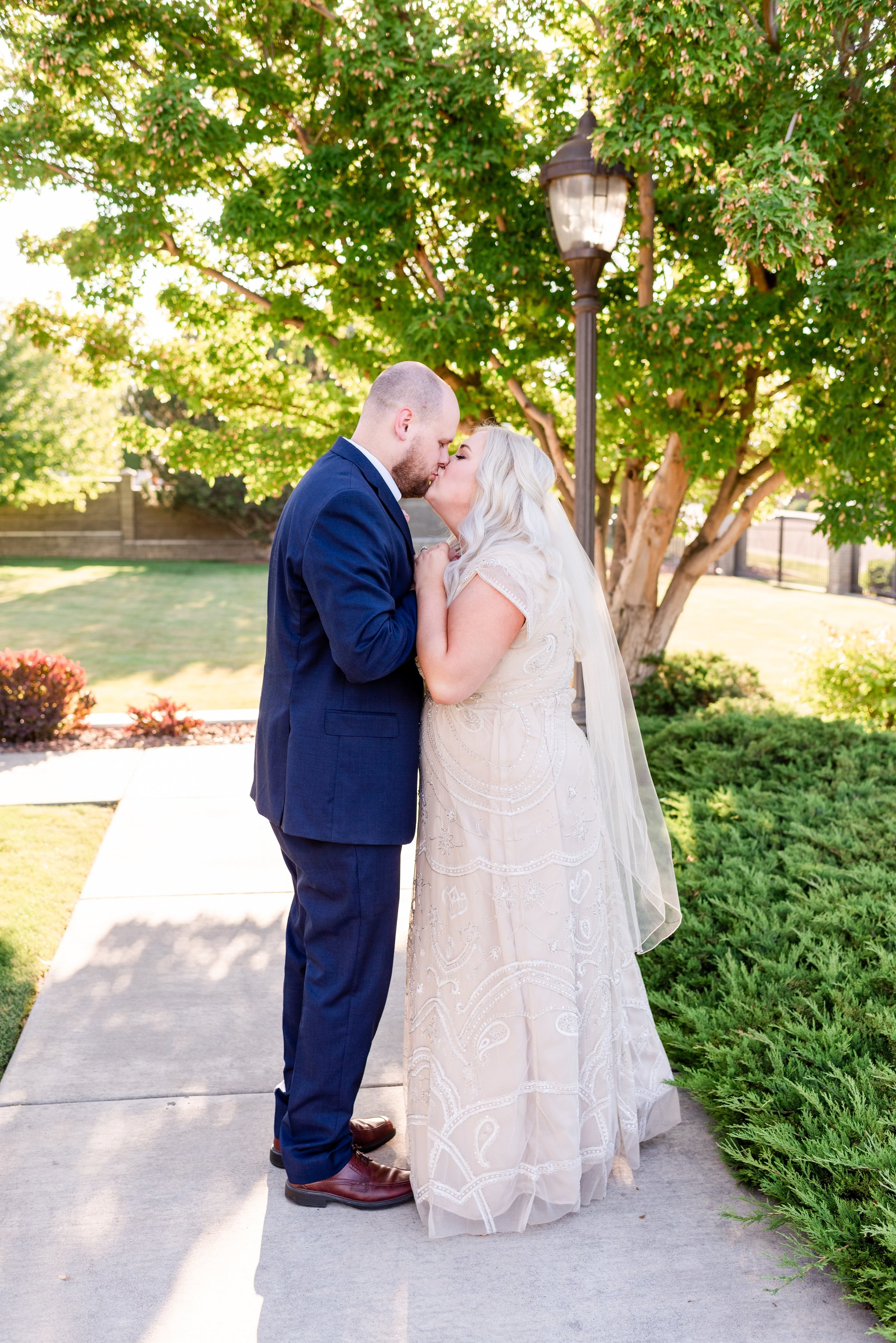 Columbia River Temple LDS Wedding Photographer - Morgan Tayler Photo & Design - Tri Cities Washington Wedding Photographer - Temple Bridal Photos - BHLDN Modest Champagne Wedding Dress