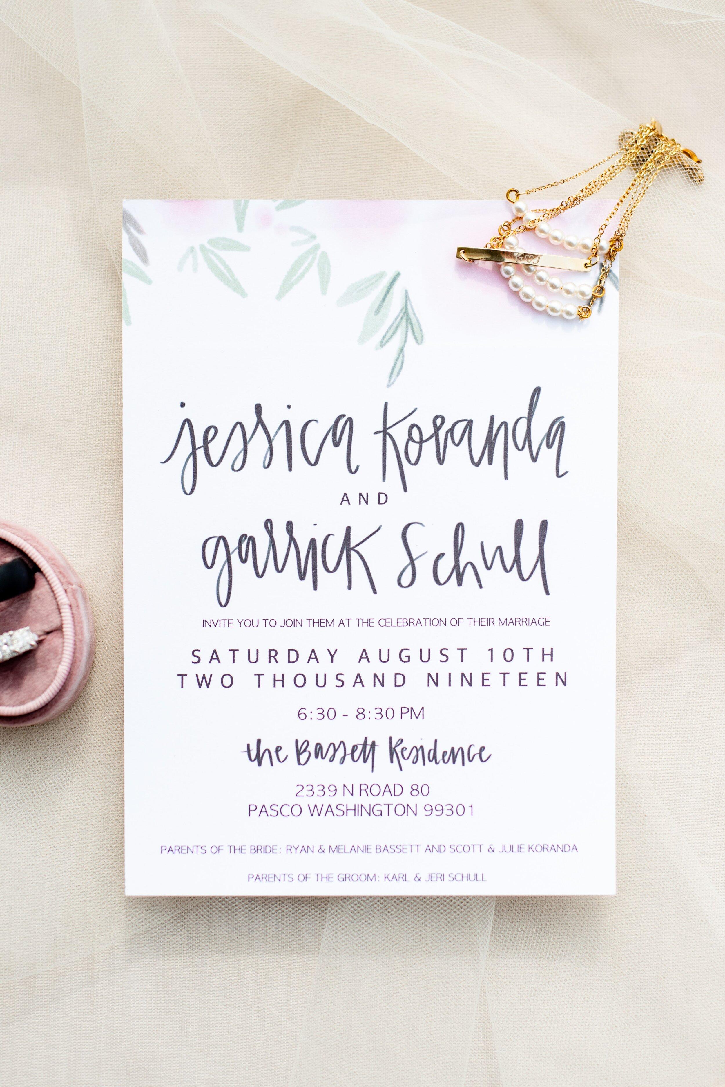 Watercolor Handwritten Wedding Invitation - Tri Cities Wedding Photographer - Morgan Tayler Photo & Design - Tri Cities Washington Backyard Wedding