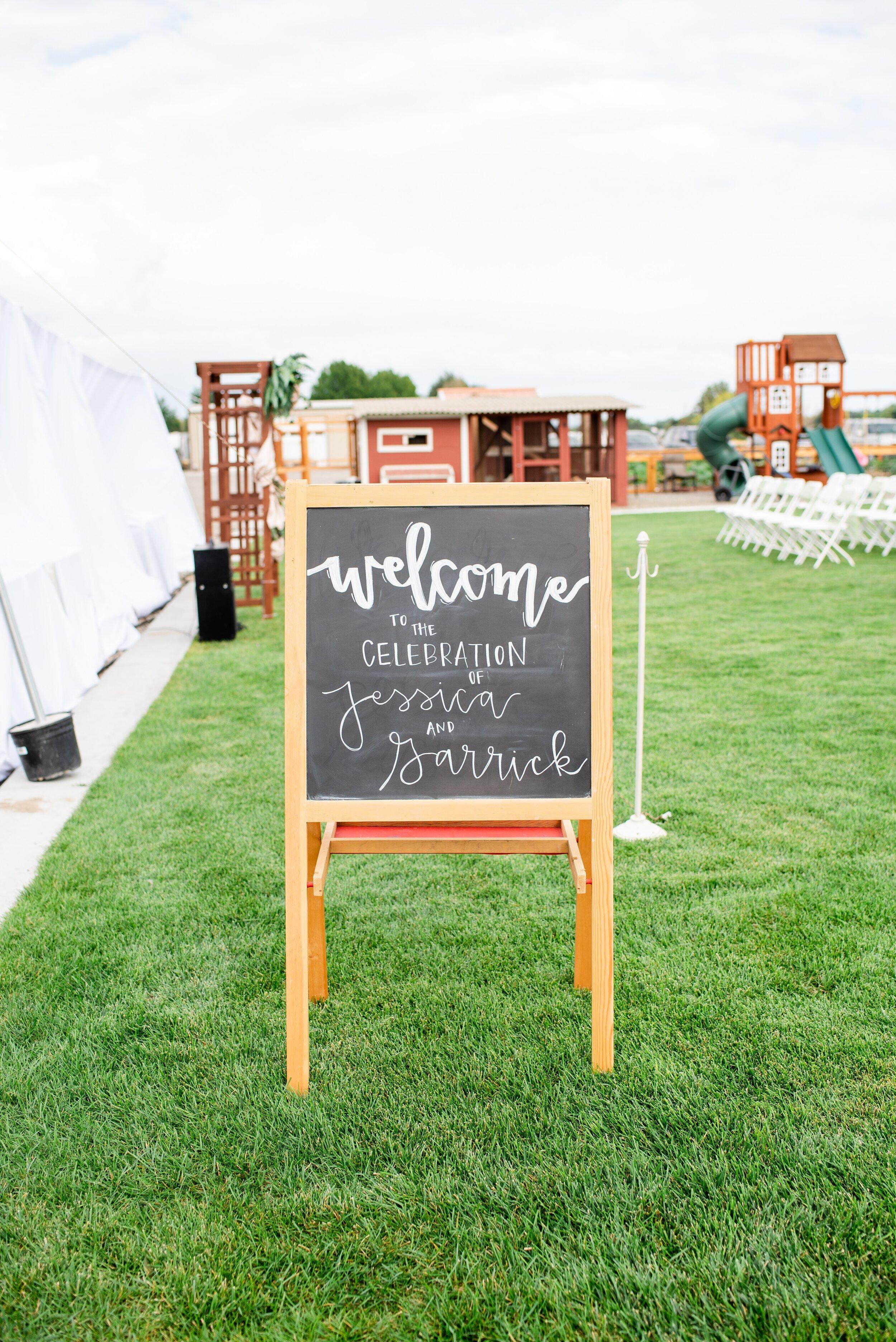 Chalkboard Wedding Welcome Sign - Tri Cities Wedding Photographer - Morgan Tayler Photo & Design - Tri Cities Washington Backyard Wedding
