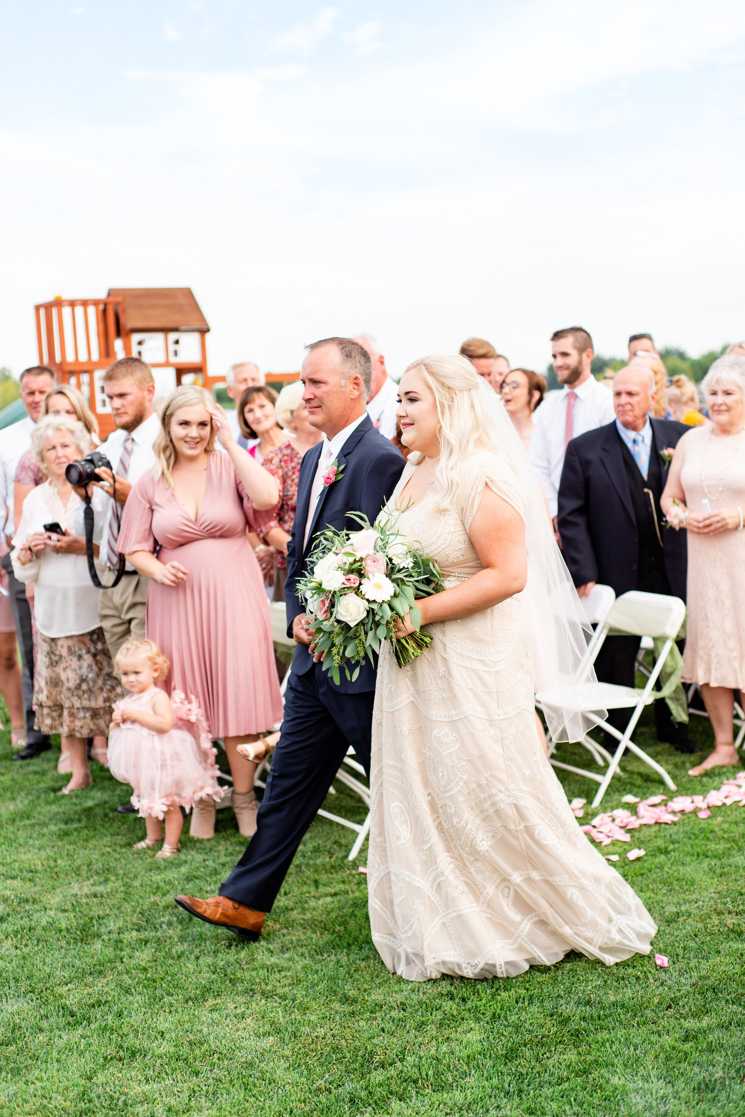 Dad Walking Bride Up Aisle - Tri Cities Wedding Photographer - Morgan Tayler Photo & Design - Tri Cities Washington Backyard Wedding