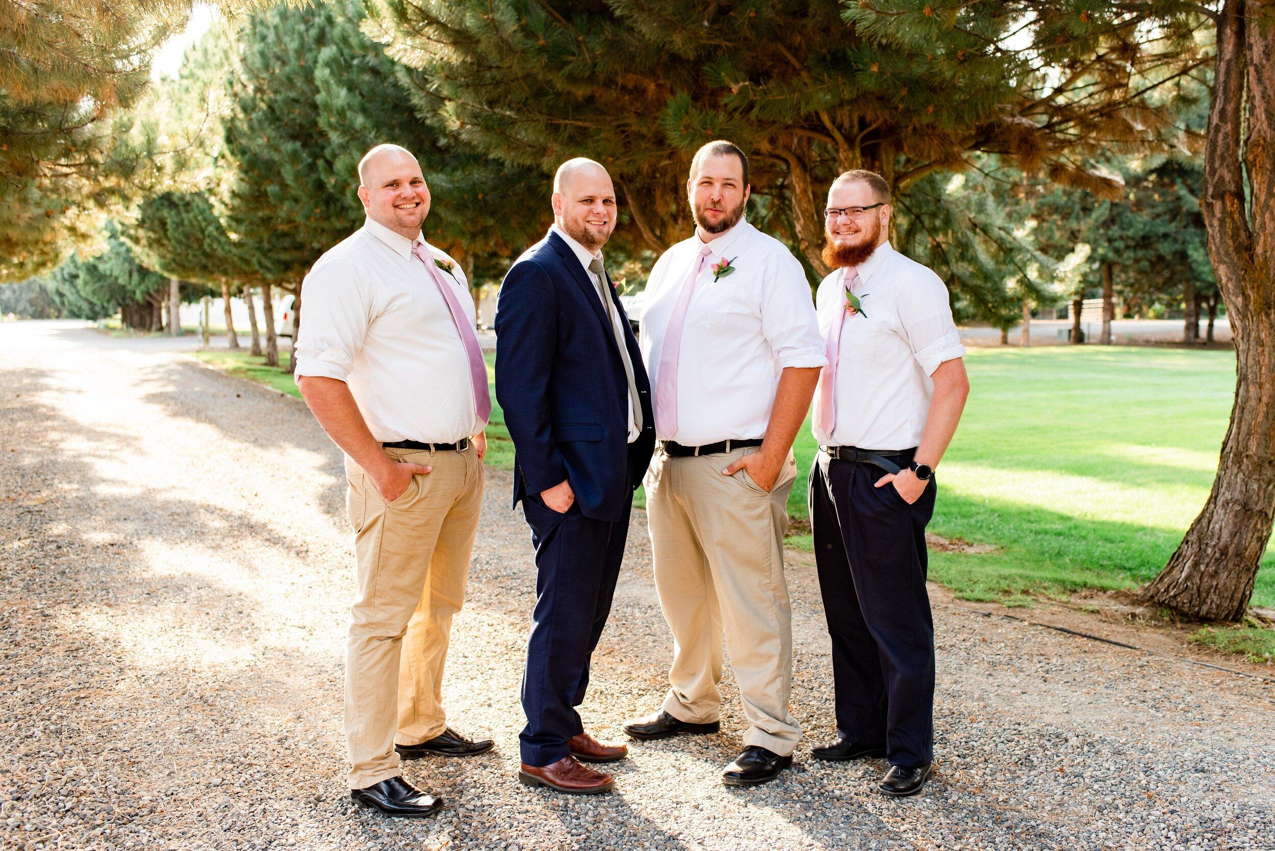 Groom & Groomsmen - Tri Cities Wedding Photographer - Morgan Tayler Photo & Design - Tri Cities Washington Backyard Wedding