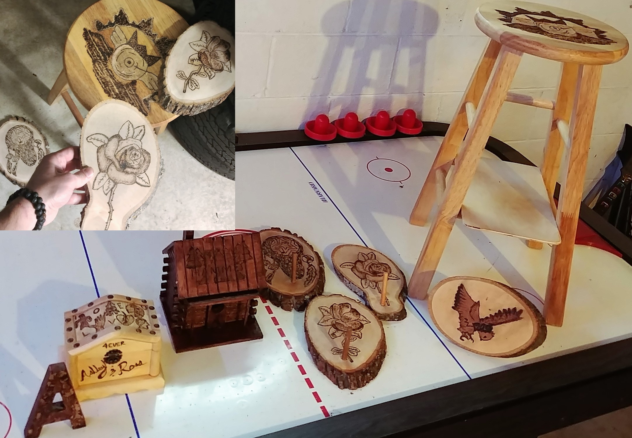 Wood Carving + Burning - A jewelry box, decorative letter, log cabin bird house, a stool/shelf, and 4 decorative key holders