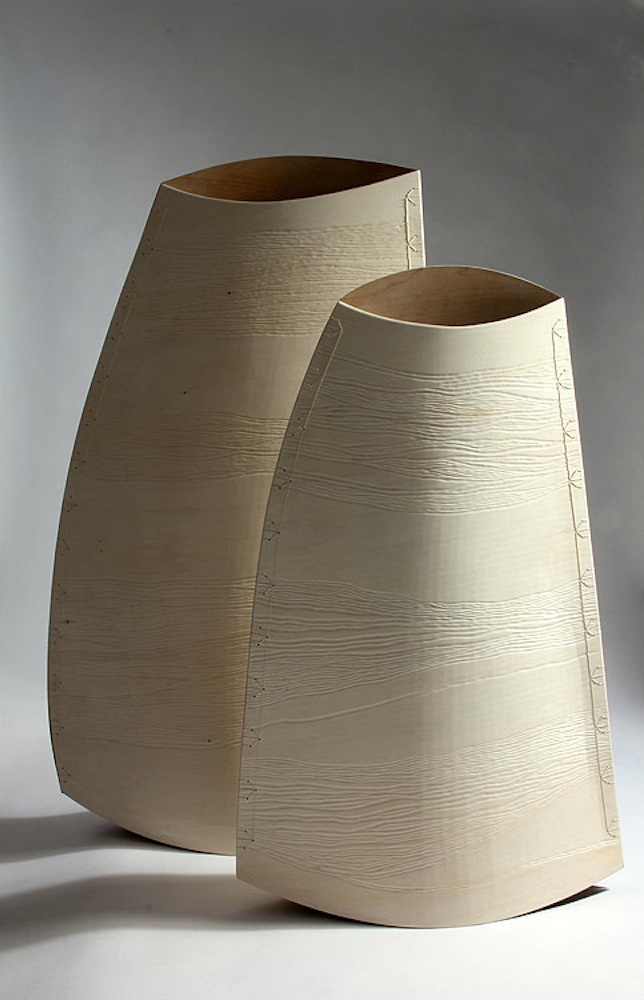 Still Life Bend, 2014. Cherry and birch ply, silk,38 x 23 x 8 and 30 x 20 x 6