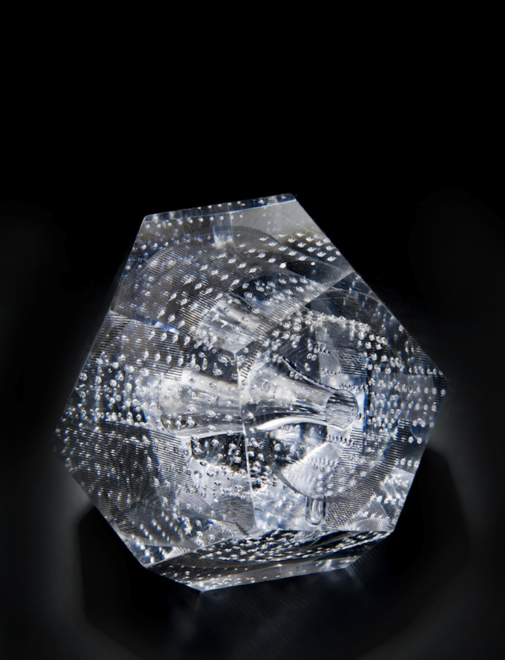 Essential Symmetry series: Dodecahedron, 2014.Hot glass and print, 13 x 13 x 13 cm. Photo: Ester Segarra