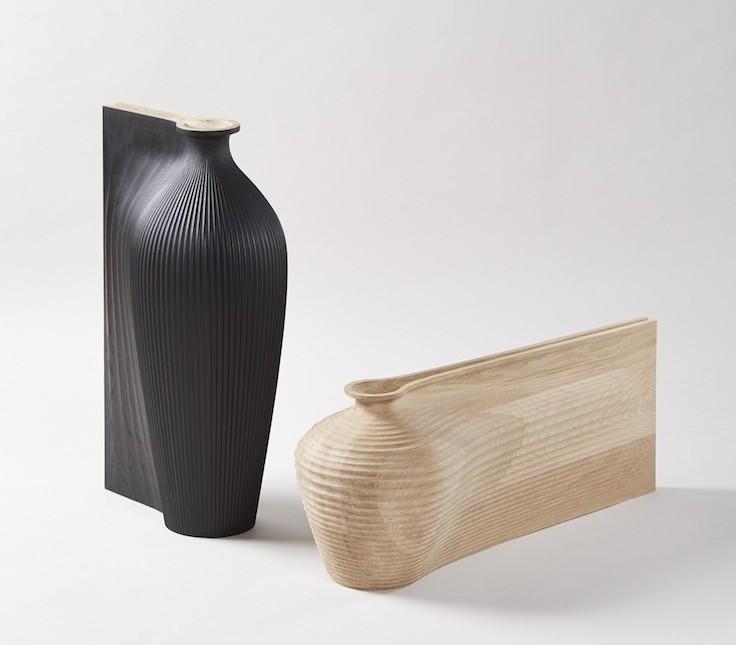 Zaha Hadid and Gareth Neal, Tall Black Vessel, Low Oak Vessel, 2014
