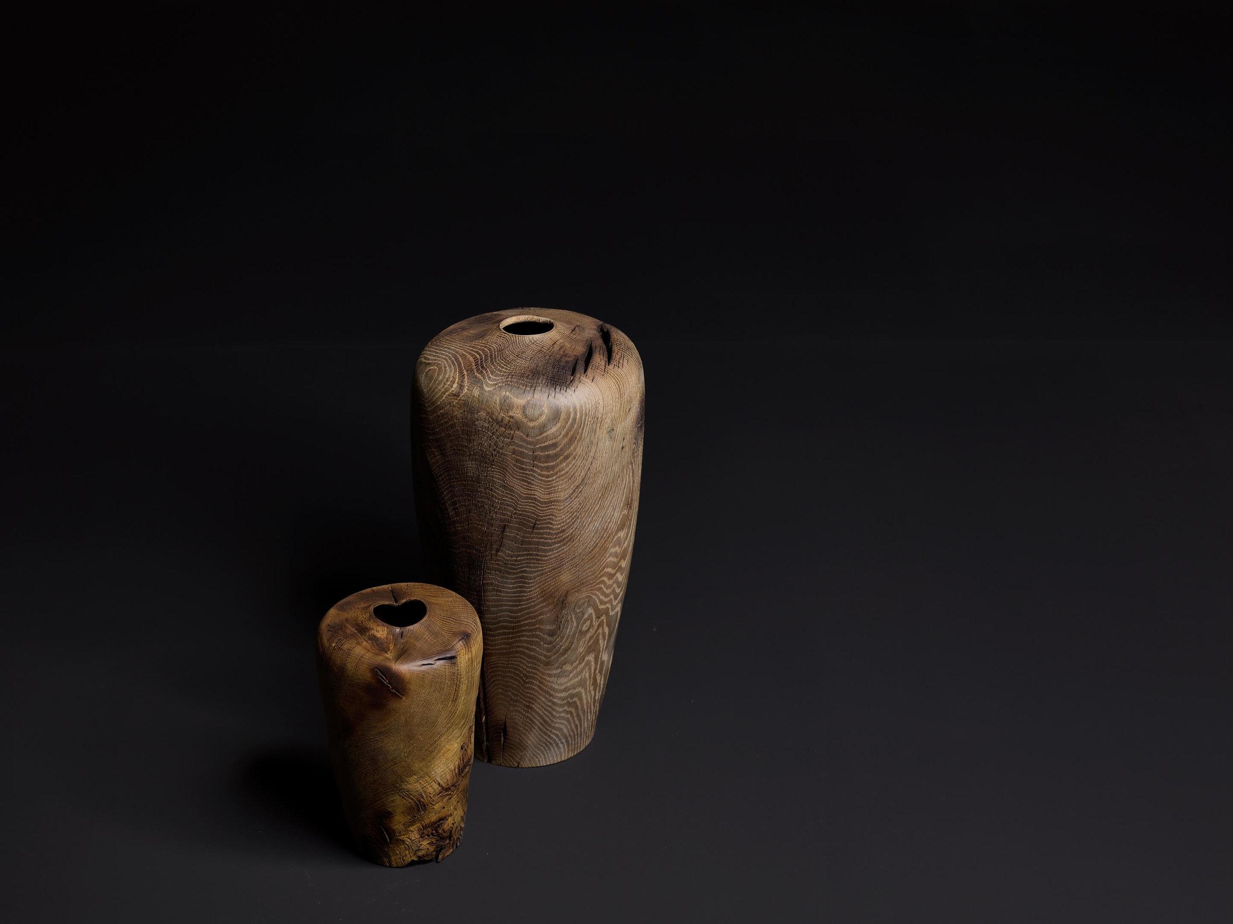 Ernst Gamperl,18/170 C17, 2017, Oak, 56 x 28 dia cm and 17/150 C17, 2017 Oak, 33 x 20 dia cm Photo: Bernhard Spöttel