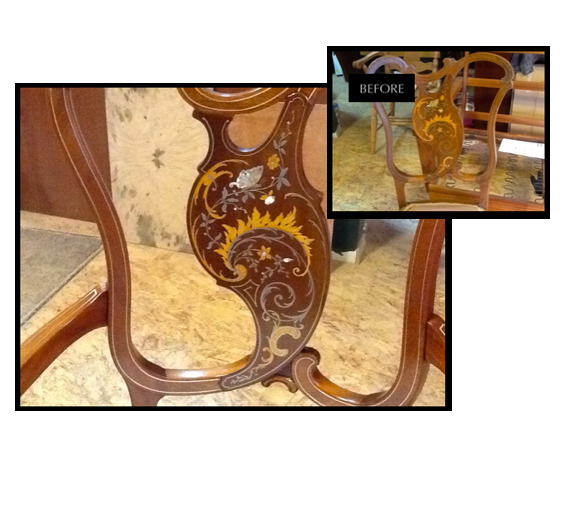 Frequently refinishing and restoration are combined. This chair with wood marquetry and multiple metal inlay in the design had damaged brass wire.