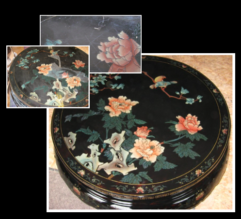 This Asian Lacquerware coffee table had deteriorated over time and the owner tried to revive it by applying a seal coat from the hardware store. The top picture shows the marring and cloudy finish. Due to the nature of the original finish and low relief surface, removing the damage took care (middle pic). Restoration brought back the beauty and depth of color.